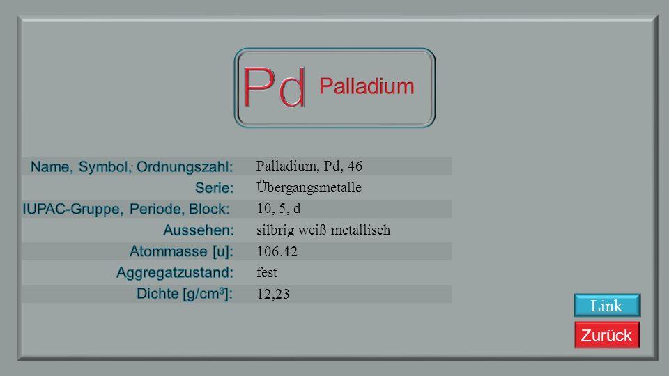Zurück Rhodium, Rh, 45 Übergangsmetalle 9, 5, d silbrig weiß metallisch 102,90550 fest 12,45 Link