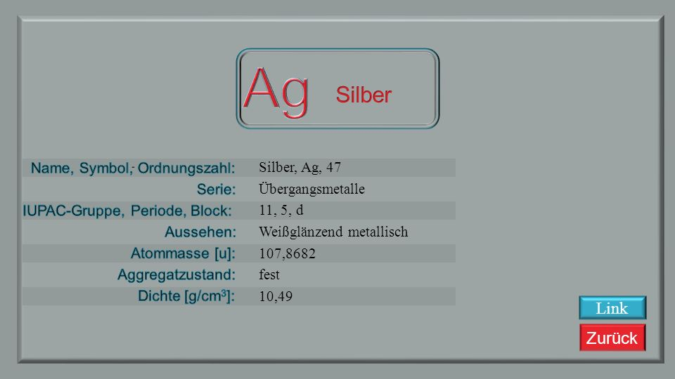 Zurück Palladium, Pd, 46 Übergangsmetalle 10, 5, d silbrig weiß metallisch 106.42 fest 12,23 Link