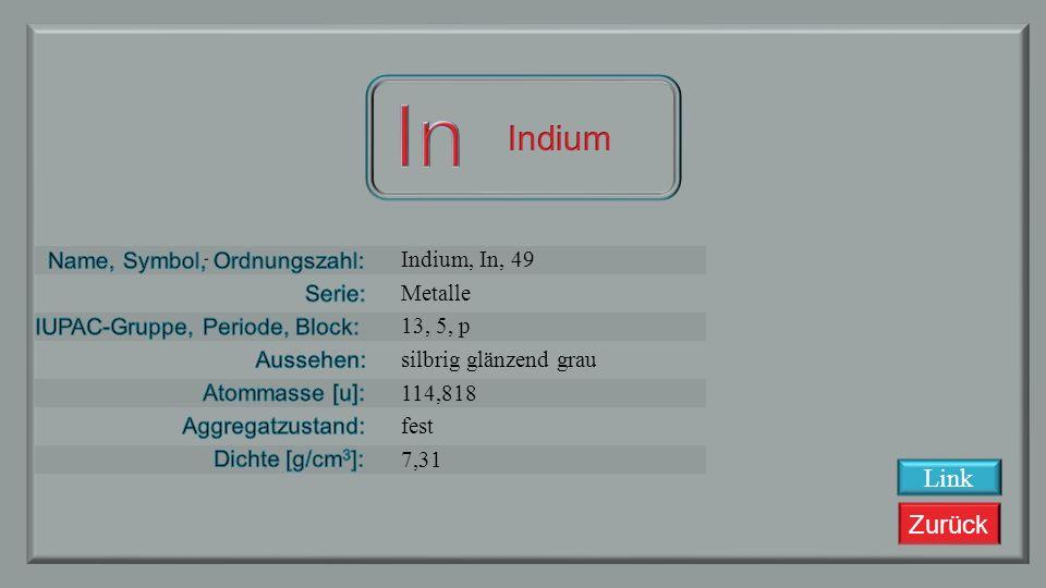 Zurück Cadmium, Cd, 48 Übergangsmetalle 12, 5, d silbrig grau metallisch 112,411 fest 8,65 Link