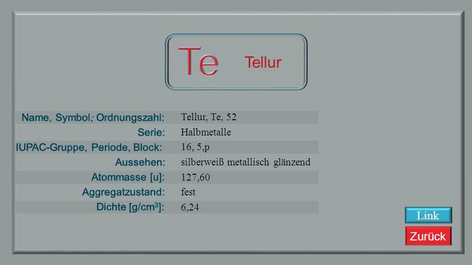 Zurück Antimon, Sb, 51 Halbmetalle 15, 5, p silbrig glänzend grau 121,750 fest 6,697 Link