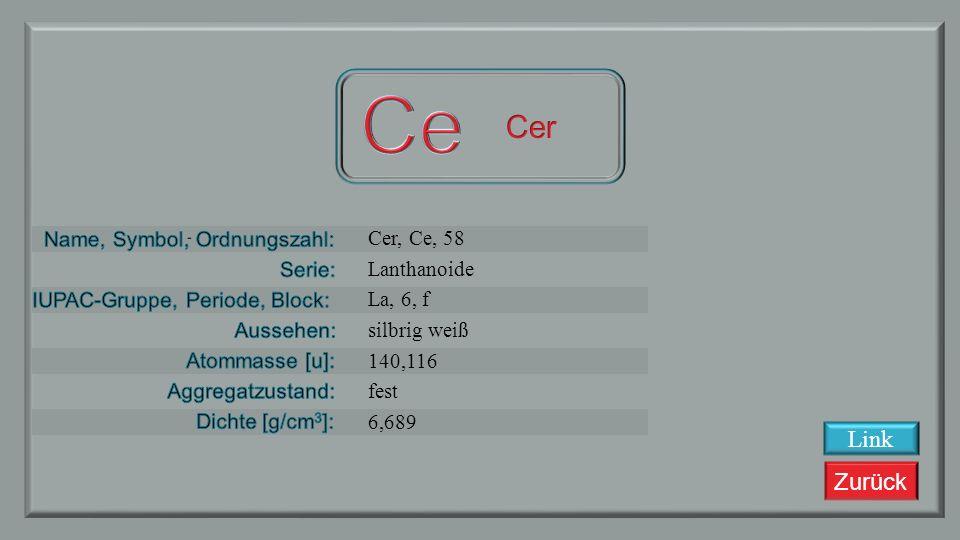 Zurück Lanthan, La, 57 Lanthanoide 3, 6, d silbrig weiß 138,9055 fest 6,146 Link