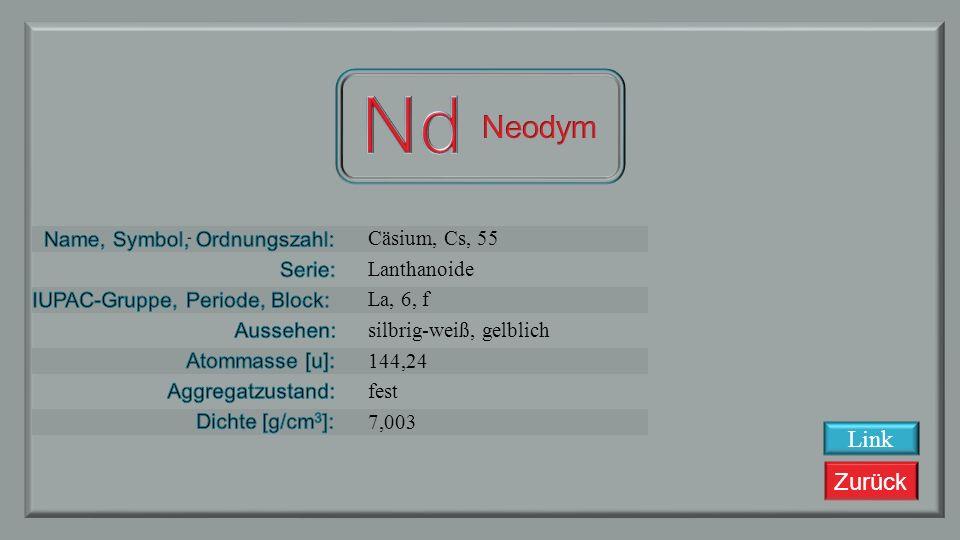 Zurück Praseodym, Pr, 59 Lanthanoide La, 6, f silbrig weiß 140,90765 fest 6,64 Link