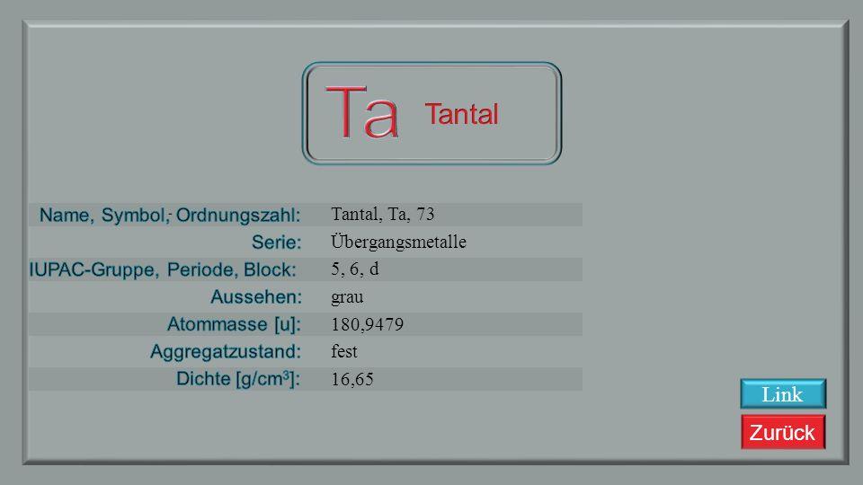 Zurück Hafnium, Hf, 72 Übergangsmetalle 4, 6, d Stahlgrau 178,49 fest 13,28 Link