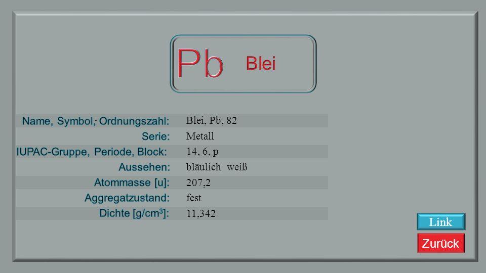 Zurück Thallium, Tl, 81 Metall 13, 6, p silbrig weiß 204.3833 fest 11,85 Link