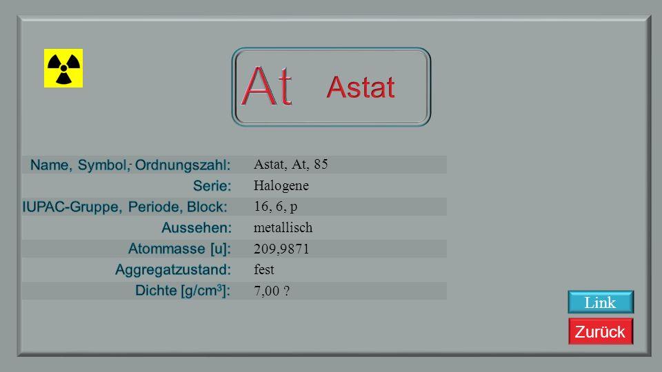 Zurück Polonium, Po, 84 Metall 16, 6, p silbrig 209,98 fest 9,196 Link