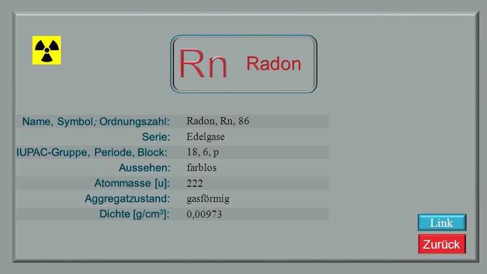 Zurück Astat, At, 85 Halogene 16, 6, p metallisch 209,9871 fest 7,00 ? Link