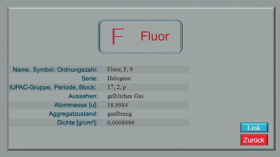 Zurück Sauerstoff, O, 8 Nichtmetalle 16, 2, p farbloses Gas 15,9994 gasförmig 0,001429 Link