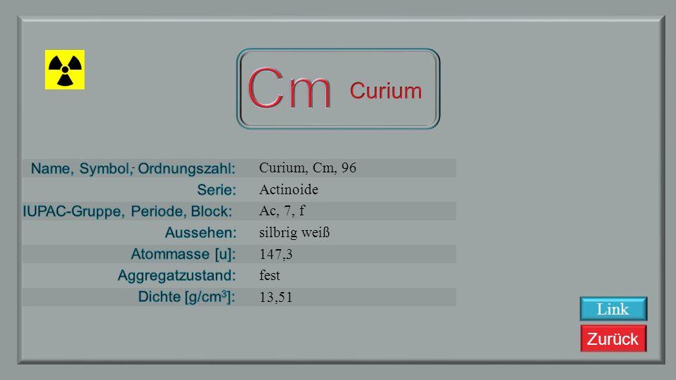 Zurück Americium, Am, 95 Actinoide Ac, 7, f silbrig weiß 243,061375 fest 13,67 Link