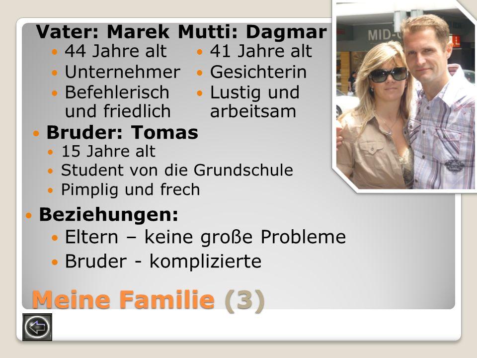 Meine Familie (3) Vater: Marek 41 Jahre alt Gesichterin Lustig und arbeitsam Mutti: Dagmar 44 Jahre alt Unternehmer Befehlerisch und friedlich Bruder:
