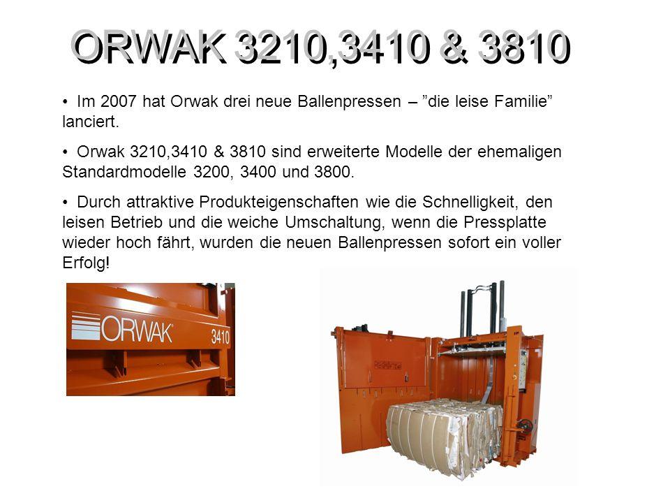 ORWAK 3210,3410 & 3810 Orwak 3410 Presskraft: 24 ton Ballengewicht: bis 300 kg (Kartonage) bis 450 kg (Kunststoff) Zykluszeit: 35 Sek.