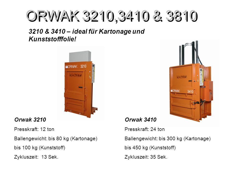 ORWAK 3210,3410 & 3810 Orwak 3810 Presskraft: 24 ton Ballengewicht: bis 500 kg (Kartonage) Zykluszeit: 35 Sek.