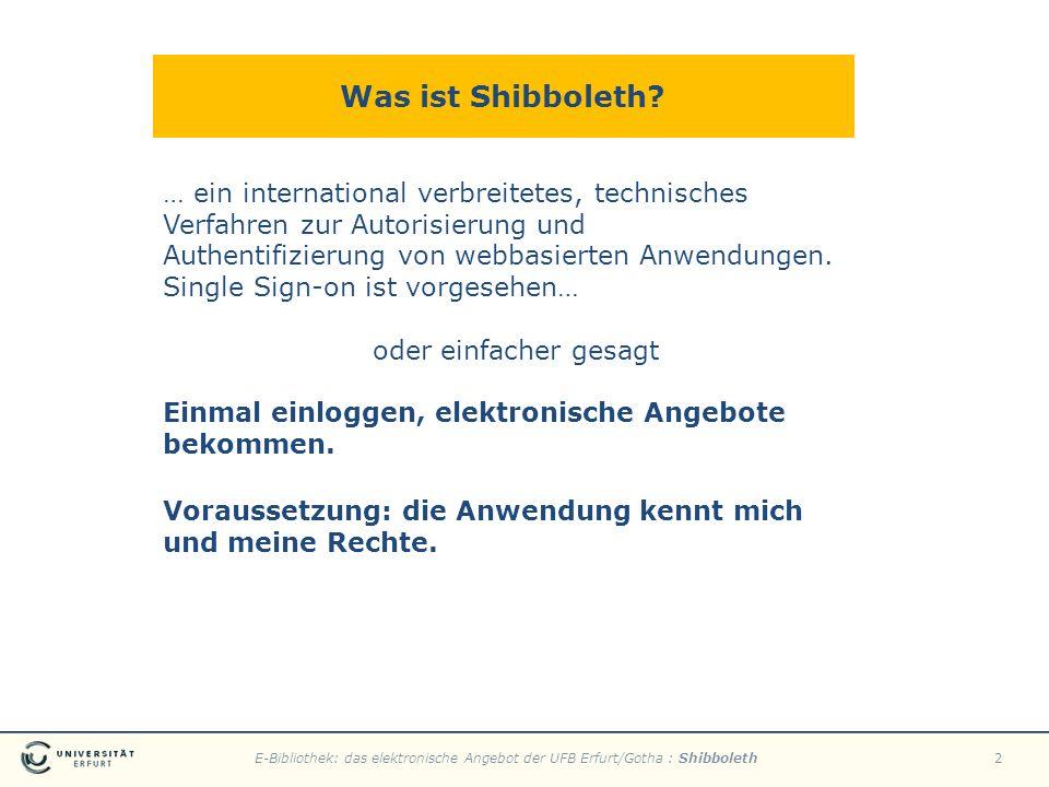 E-Bibliothek: das elektronische Angebot der UFB Erfurt/Gotha : Shibboleth2 Was ist Shibboleth? … ein international verbreitetes, technisches Verfahren