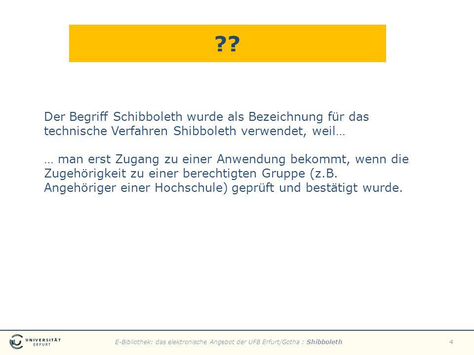E-Bibliothek: das elektronische Angebot der UFB Erfurt/Gotha : Shibboleth4 ?? Der Begriff Schibboleth wurde als Bezeichnung für das technische Verfahr