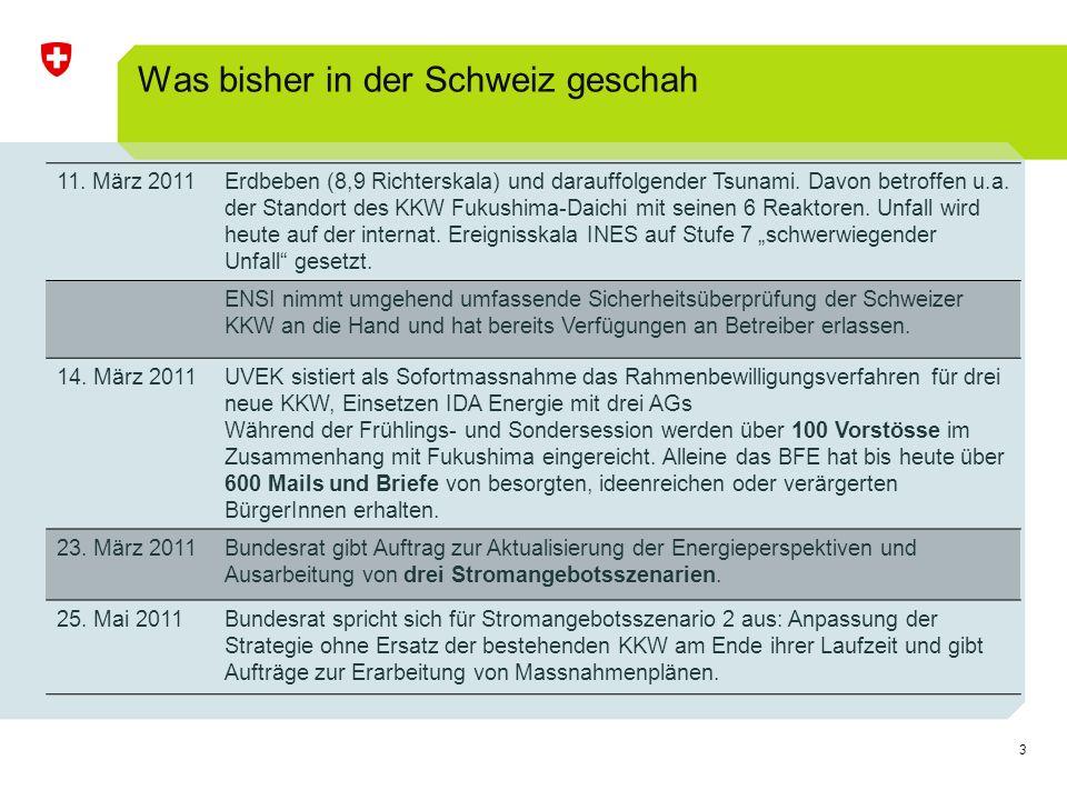 24 Volkswirtschaftliche Auswirkungen Basierend auf den Stromgestehungskosten des energiewirtschaftlichen Modells und Annahmen zu der Kostenüberwälzung wurden erste Abschätzungen zu den volkswirtschaftlichen Kosten gemacht Unabhängig von den Stromangebotsvarianten werden in der Schweiz die Stromgestehungskosten markant ansteigen Mehrkosten durch höhere Stromgestehungskosten: Grössenordnung von 3 Rp./kWh, (ca.