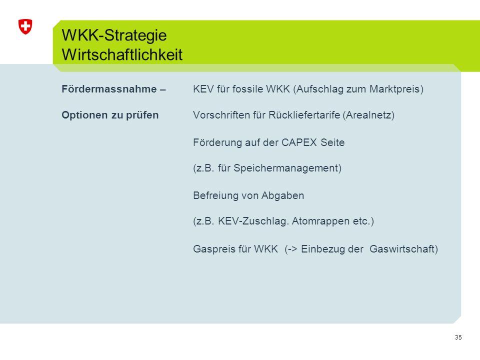 35 Fördermassnahme –KEV für fossile WKK (Aufschlag zum Marktpreis) Optionen zu prüfen Vorschriften für Rückliefertarife (Arealnetz) Förderung auf der CAPEX Seite (z.B.
