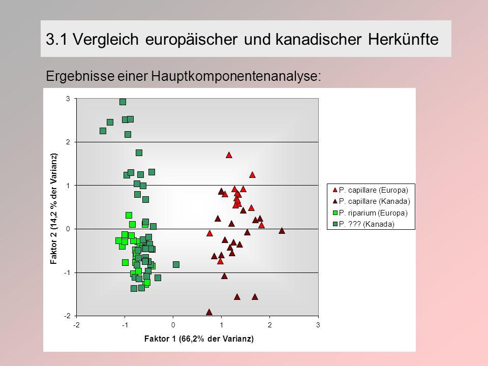 3.1 Vergleich europäischer und kanadischer Herkünfte Ergebnisse einer Hauptkomponentenanalyse: