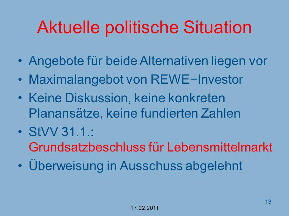 Aktuelle politische Situation Angebote für beide Alternativen liegen vor Maximalangebot von REWEInvestor Keine Diskussion, keine konkreten Planansätze