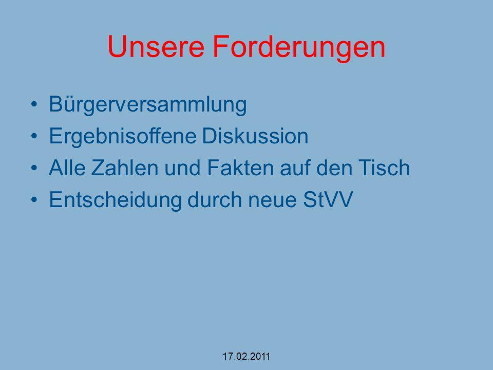 Unsere Forderungen Bürgerversammlung Ergebnisoffene Diskussion Alle Zahlen und Fakten auf den Tisch Entscheidung durch neue StVV 17.02.2011