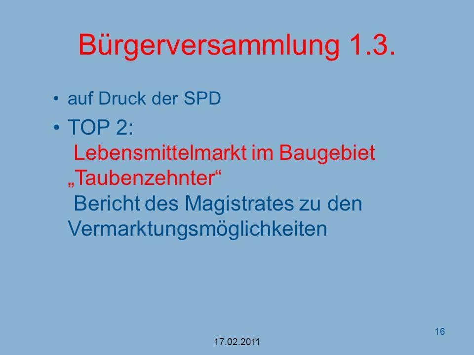Bürgerversammlung 1.3. auf Druck der SPD TOP 2: Lebensmittelmarkt im Baugebiet Taubenzehnter Bericht des Magistrates zu den Vermarktungsmöglichkeiten