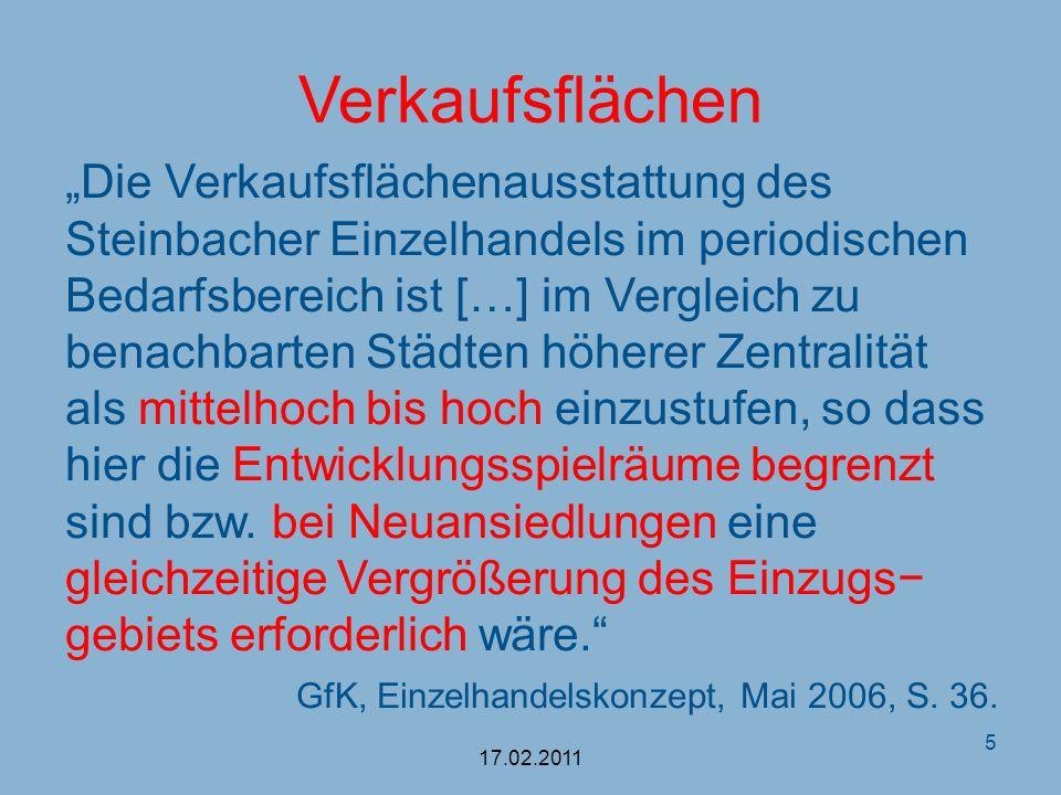 Verkaufsflächen Die Verkaufsflächenausstattung des Steinbacher Einzelhandels im periodischen Bedarfsbereich ist […] im Vergleich zu benachbarten Städt