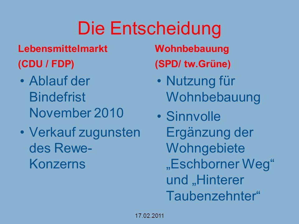 Die Entscheidung Lebensmittelmarkt (CDU / FDP) Ablauf der Bindefrist November 2010 Verkauf zugunsten des Rewe- Konzerns Wohnbebauung (SPD/ tw.Grüne) N