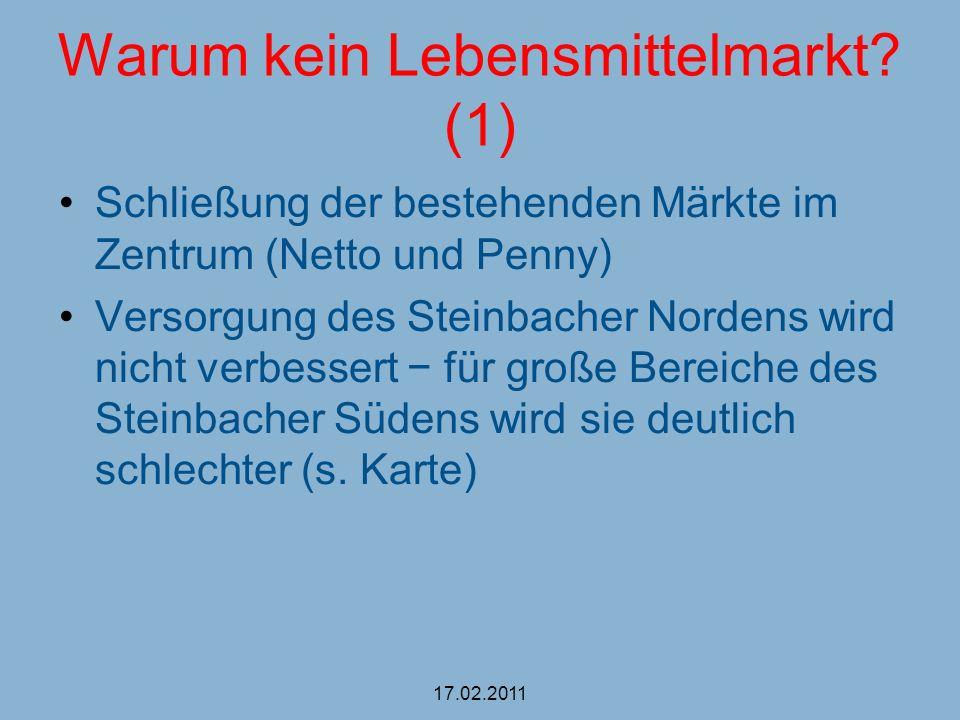 Warum kein Lebensmittelmarkt? (1) Schließung der bestehenden Märkte im Zentrum (Netto und Penny) Versorgung des Steinbacher Nordens wird nicht verbess