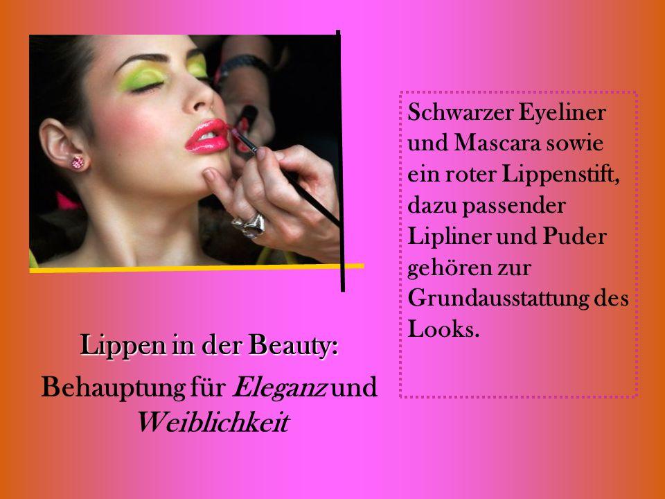 Lippen in der Beauty: Behauptung für Eleganz und Weiblichkeit Schwarzer Eyeliner und Mascara sowie ein roter Lippenstift, dazu passender Lipliner und