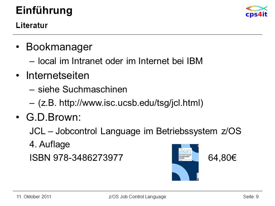 Job-Beschreibung, Step-Beschreibung JOB-Anweisung – Abrechnungsinformation Syntax –([accounting-number][,accounting-information]...) abhängig von Verrechnungskriterien wie –Speicherplatz –I/O-Einheiten –CPU –Hauptspeicherleistung Beispiel: //JOBX JOB (3SLX510,000,00T NR0003) //JOB1 JOB (CPS4IT,TRAINING) //JOB2 JOB CPS4IT,TRAINING 11.