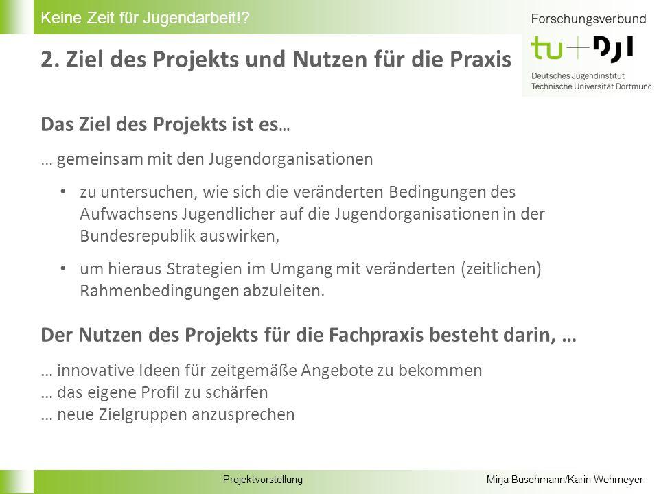 ProjektvorstellungMirja Buschmann/Karin Wehmeyer Keine Zeit für Jugendarbeit!? 3. Projektverlauf