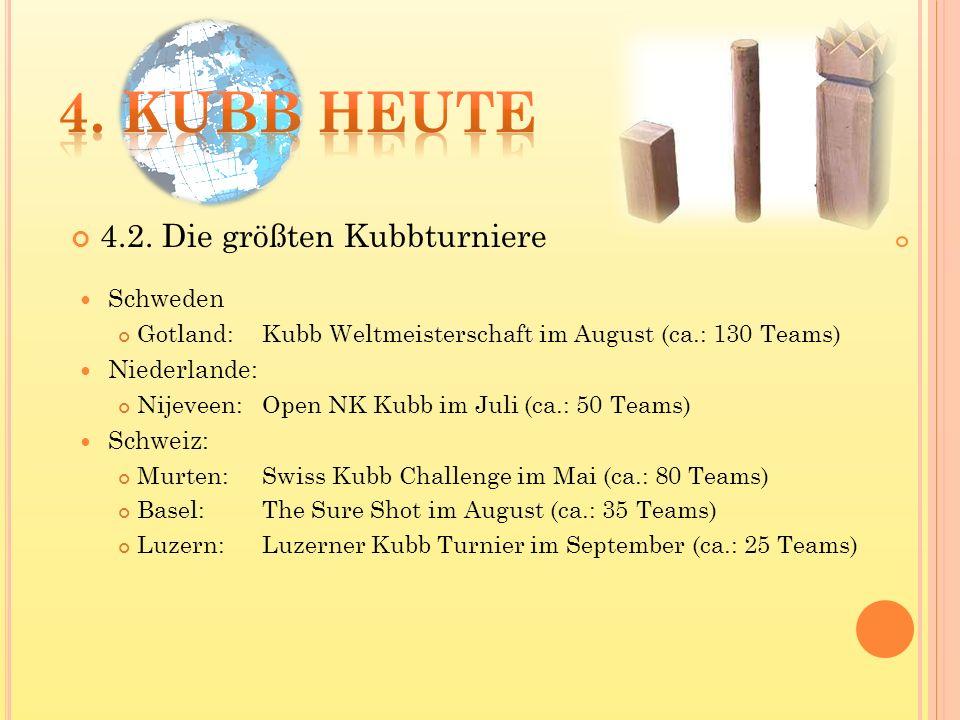 Schweden Gotland: Kubb Weltmeisterschaft im August (ca.: 130 Teams) Niederlande: Nijeveen:Open NK Kubb im Juli (ca.: 50 Teams) Schweiz: Murten: Swiss