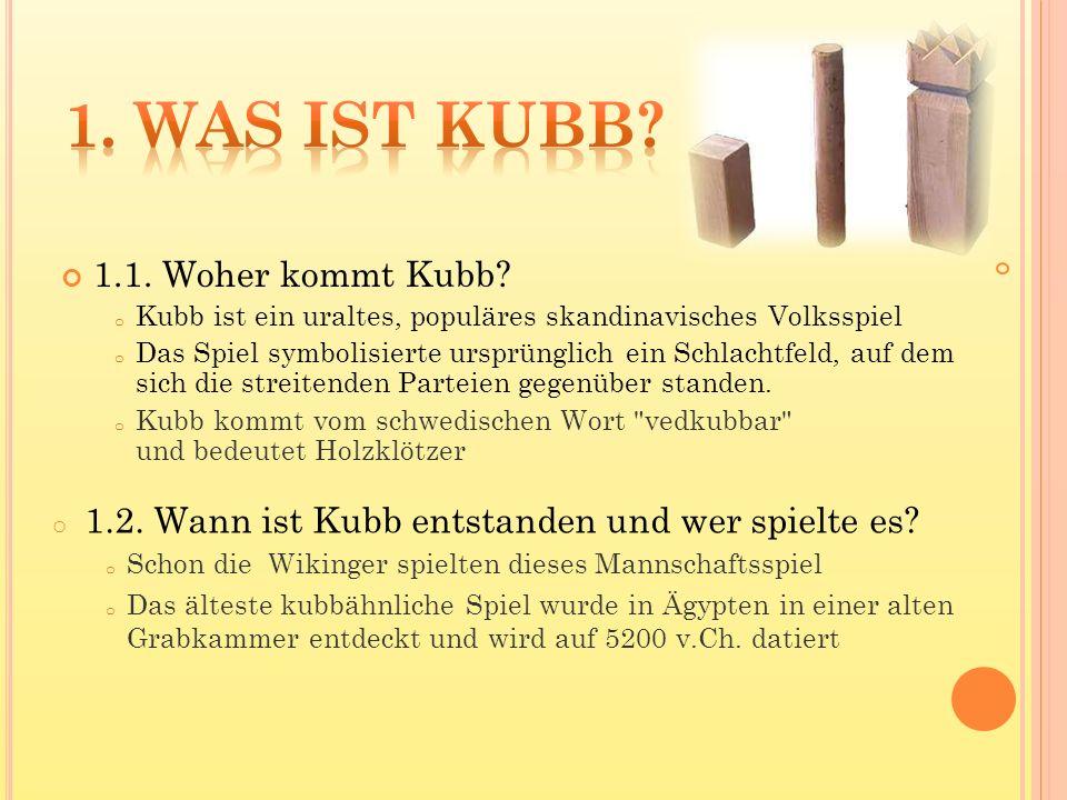 1.1. Woher kommt Kubb? o Kubb ist ein uraltes, populäres skandinavisches Volksspiel o Das Spiel symbolisierte ursprünglich ein Schlachtfeld, auf dem s