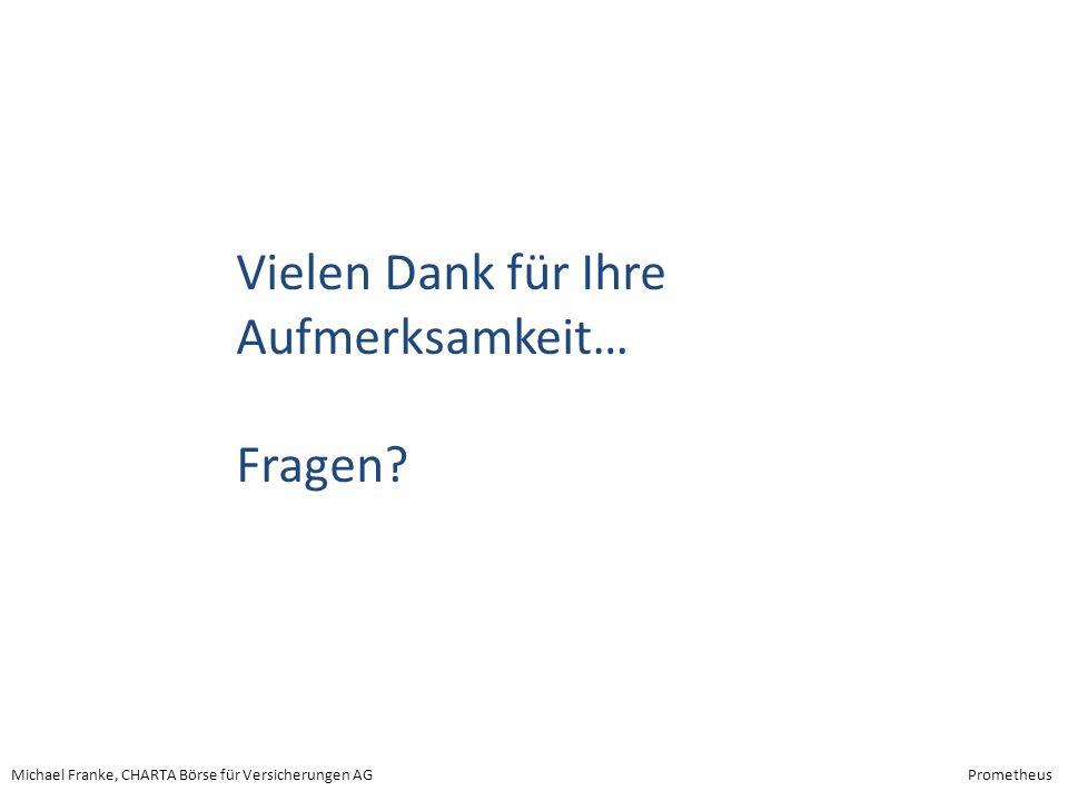 Michael Franke, CHARTA Börse für Versicherungen AGPrometheus Vielen Dank für Ihre Aufmerksamkeit… Fragen?