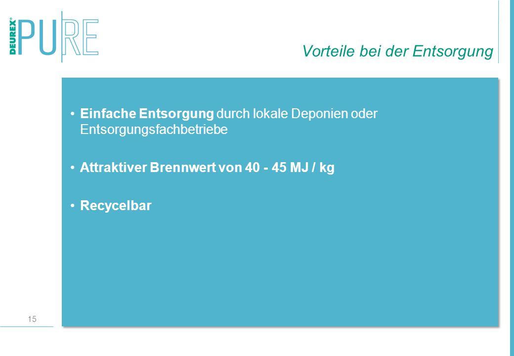 15 Einfache Entsorgung durch lokale Deponien oder Entsorgungsfachbetriebe Attraktiver Brennwert von 40 - 45 MJ / kg Recycelbar Vorteile bei der Entsor