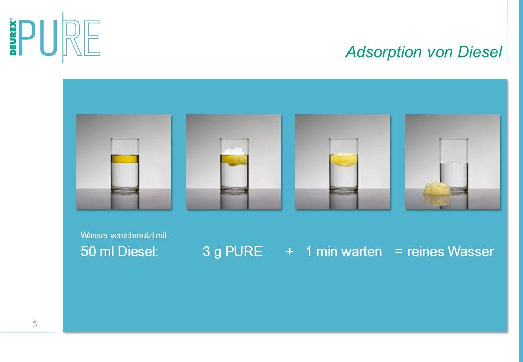 3 Wasser verschmutzt mit 50 ml Diesel:3 g PURE+ 1 min warten=reines Wasser Adsorption von Diesel