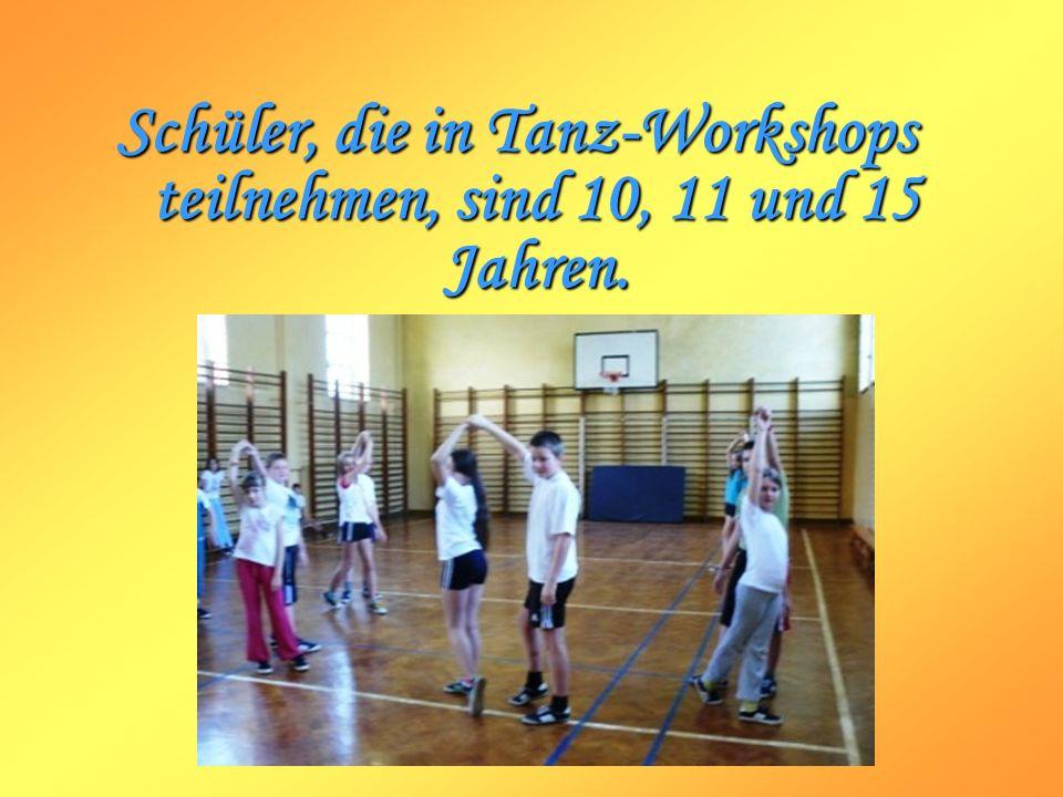 Schüler, die in Tanz-Workshops teilnehmen, sind 10, 11 und 15 Jahren.
