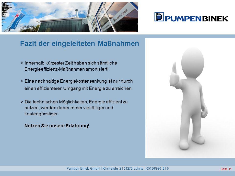 Pumpen Binek GmbH | Kirchsteig 2 | 31275 Lehrte | 05136/920 81-0 Seite 11 Fazit der eingeleiteten Maßnahmen > Innerhalb kürzester Zeit haben sich sämt
