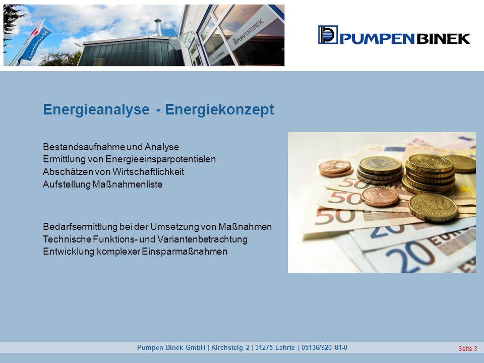 Pumpen Binek GmbH | Kirchsteig 2 | 31275 Lehrte | 05136/920 81-0 Seite 3 Energieanalyse - Energiekonzept Bestandsaufnahme und Analyse Ermittlung von E