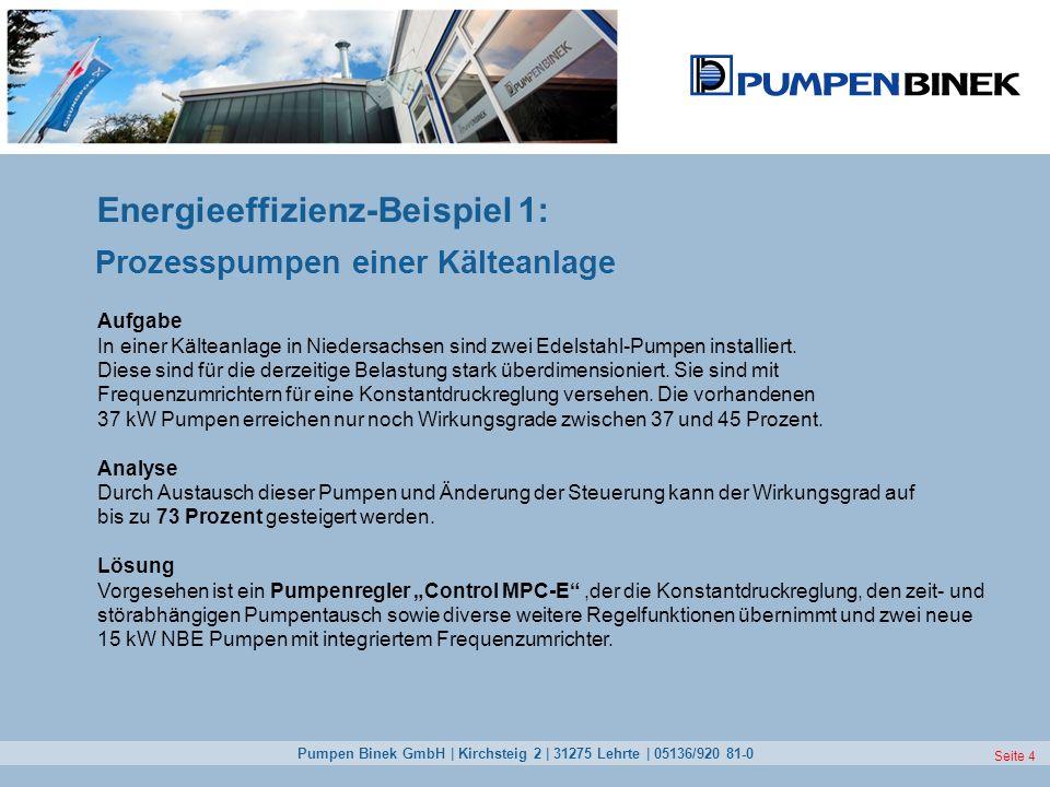 Pumpen Binek GmbH | Kirchsteig 2 | 31275 Lehrte | 05136/920 81-0 Seite 4 Energieeffizienz-Beispiel 1: Prozesspumpen einer Kälteanlage Aufgabe In einer