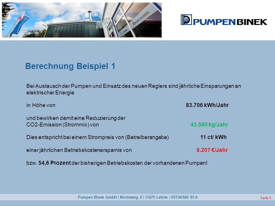 Pumpen Binek GmbH | Kirchsteig 2 | 31275 Lehrte | 05136/920 81-0 Seite 5 Berechnung Beispiel 1 Bei Austausch der Pumpen und Einsatz des neuen Reglers