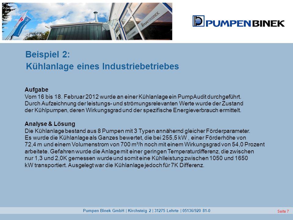 Seite 7 Beispiel 2: Kühlanlage eines Industriebetriebes Aufgabe Vom 16 bis 18. Februar 2012 wurde an einer Kühlanlage ein PumpAudit durchgeführt. Durc