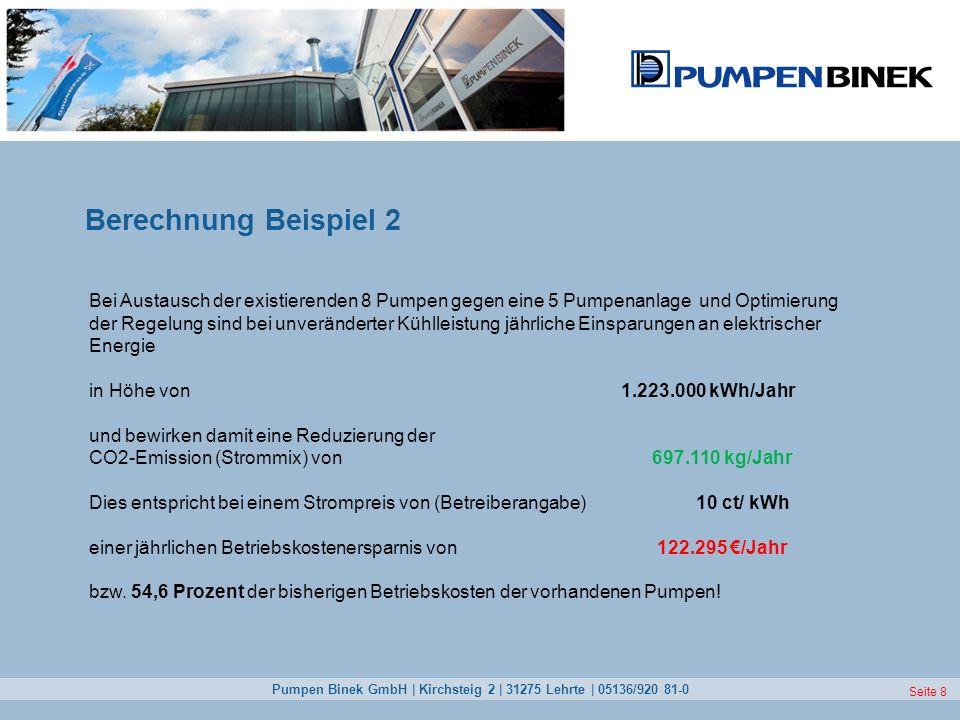 Pumpen Binek GmbH | Kirchsteig 2 | 31275 Lehrte | 05136/920 81-0 Seite 8 Berechnung Beispiel 2 Bei Austausch der existierenden 8 Pumpen gegen eine 5 P