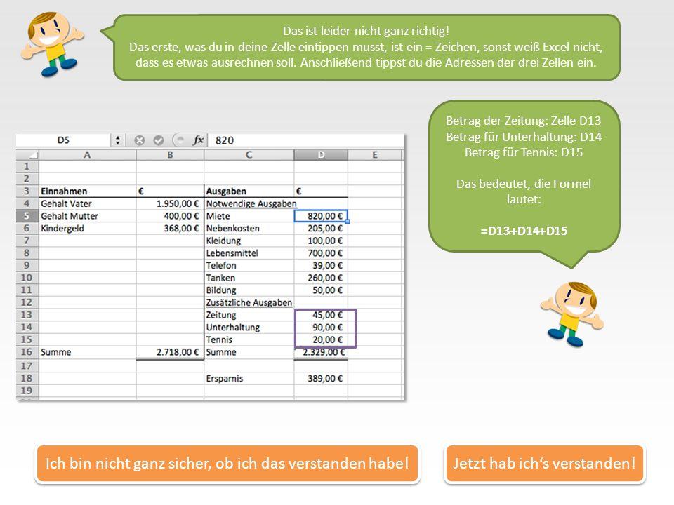 In Excel tippst du deine Rechnungen also fast genauso ein, wie wenn du sie auf Papier schreiben würdest. Nur anstatt der Beträge schreibst du die Adre