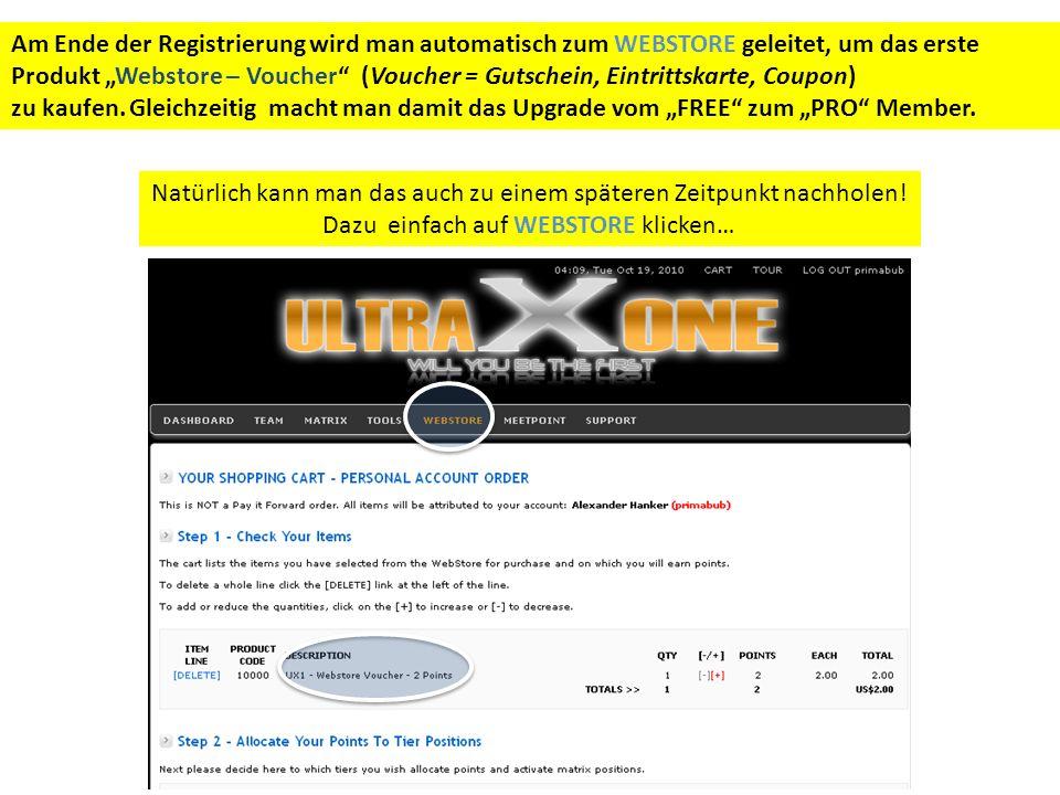 Am Ende der Registrierung wird man automatisch zum WEBSTORE geleitet, um das erste Produkt Webstore – Voucher (Voucher = Gutschein, Eintrittskarte, Coupon) zu kaufen.
