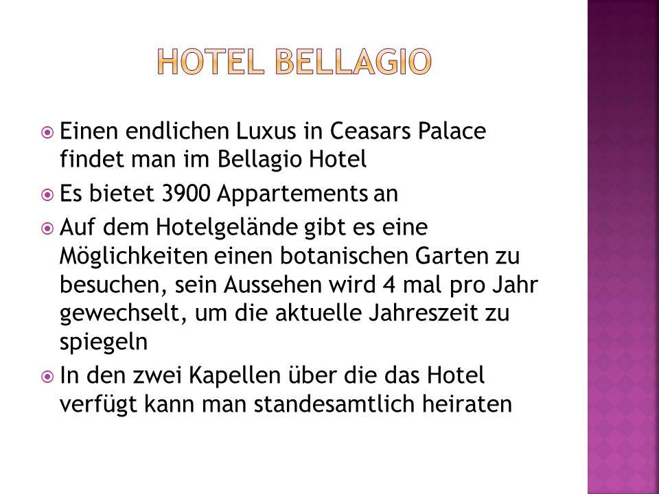 Einen endlichen Luxus in Ceasars Palace findet man im Bellagio Hotel Es bietet 3900 Appartements an Auf dem Hotelgelände gibt es eine Möglichkeiten ei