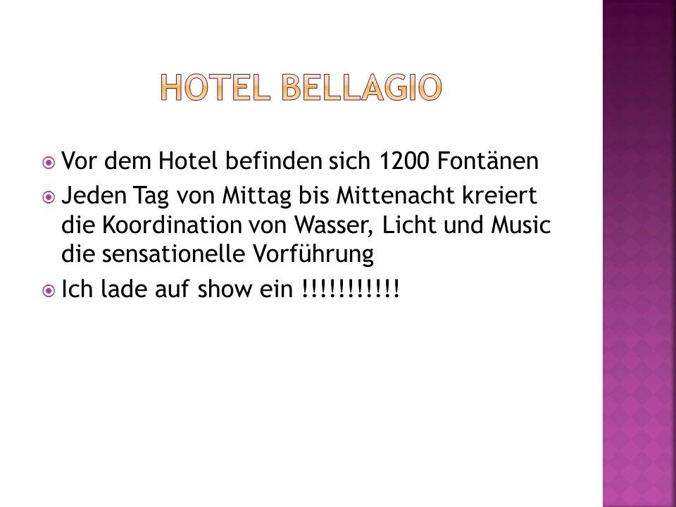 Vor dem Hotel befinden sich 1200 Fontänen Jeden Tag von Mittag bis Mittenacht kreiert die Koordination von Wasser, Licht und Music die sensationelle V