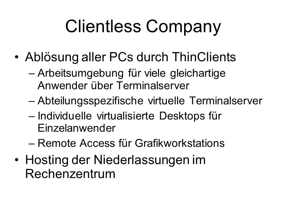 Clientless Company Ablösung aller PCs durch ThinClients –Arbeitsumgebung für viele gleichartige Anwender über Terminalserver –Abteilungsspezifische vi
