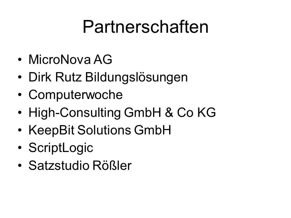 Partnerschaften MicroNova AG Dirk Rutz Bildungslösungen Computerwoche High-Consulting GmbH & Co KG KeepBit Solutions GmbH ScriptLogic Satzstudio Rößle