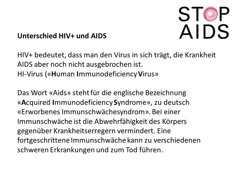Unterschied HIV+ und AIDS HIV+ bedeutet, dass man den Virus in sich trägt, die Krankheit AIDS aber noch nicht ausgebrochen ist.