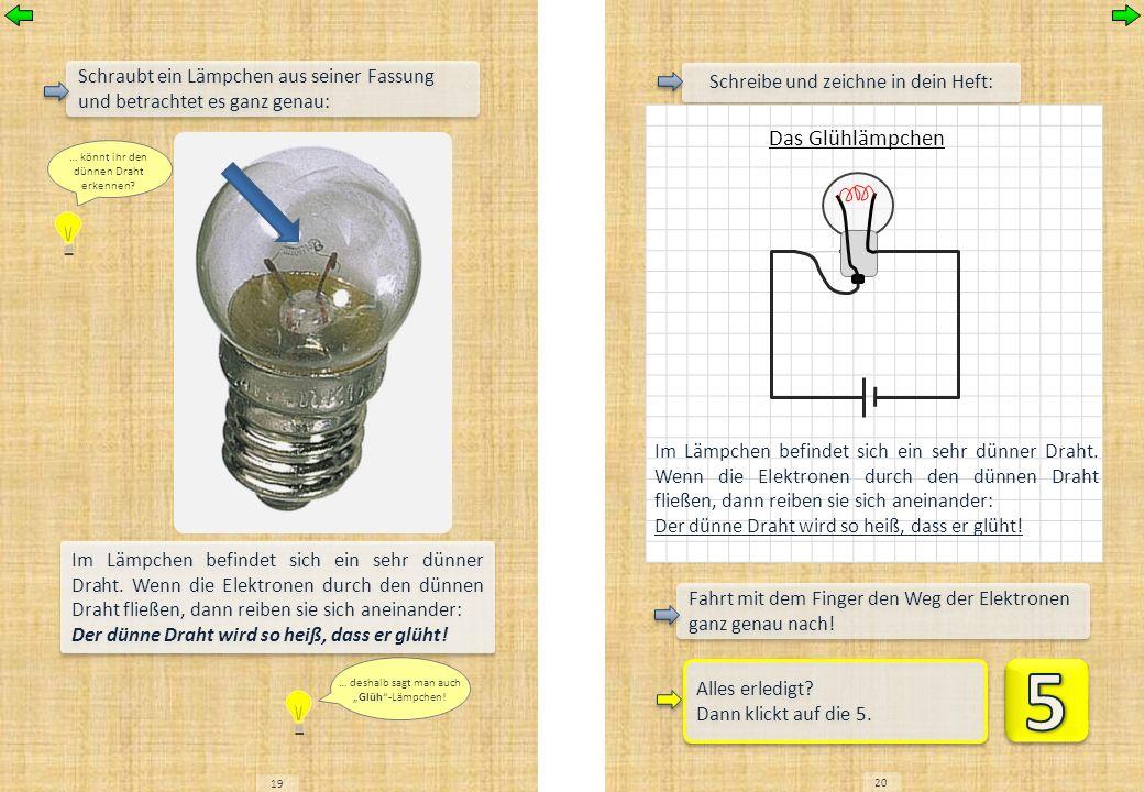 19 20 Schreibe und zeichne in dein Heft: Das Glühlämpchen Im Lämpchen befindet sich ein sehr dünner Draht. Wenn die Elektronen durch den dünnen Draht