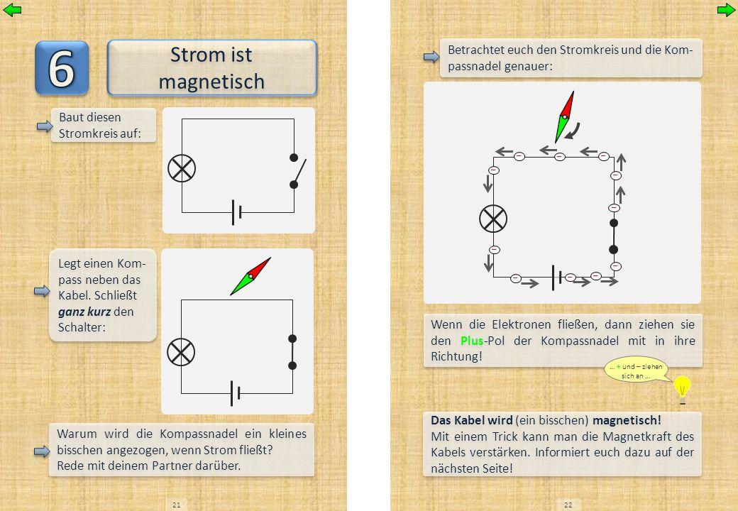 2122 Strom ist magnetisch Baut diesen Stromkreis auf: Legt einen Kom- pass neben das Kabel. Schließt ganz kurz den Schalter: Warum wird die Kompassnad